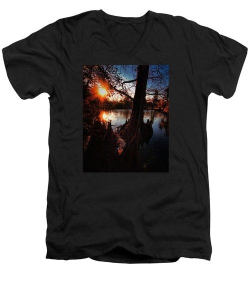 Men's V-Neck T-Shirt featuring the photograph Bayou Sundown by Robert McCubbin