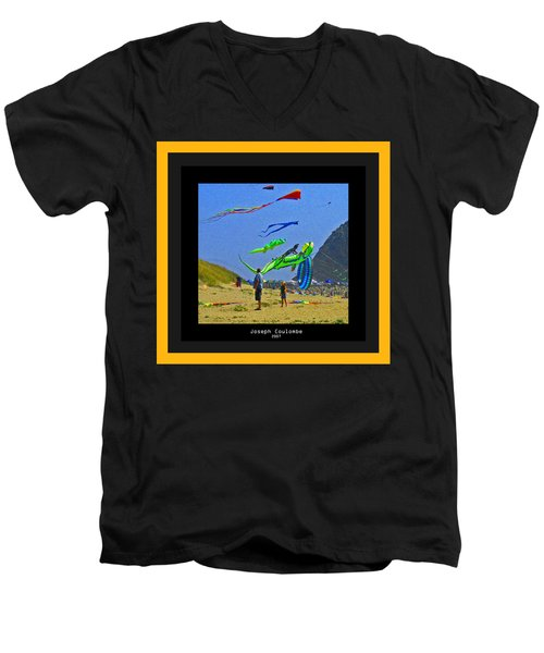 Beach Kids 4 Kites Men's V-Neck T-Shirt