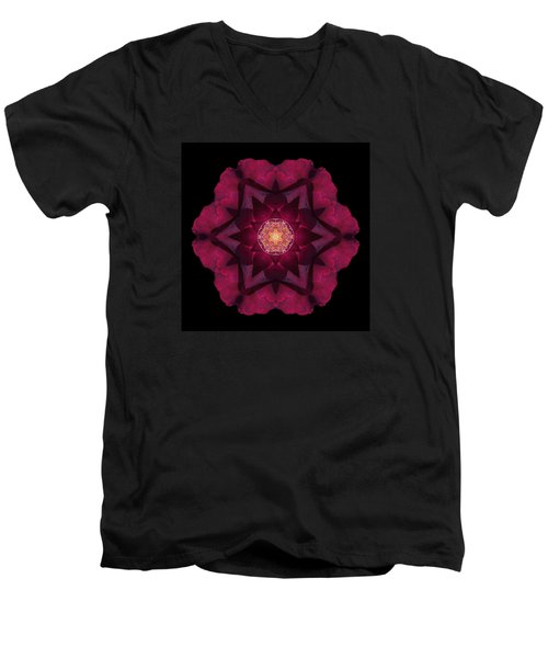 Beach Rose I Flower Mandala Men's V-Neck T-Shirt by David J Bookbinder