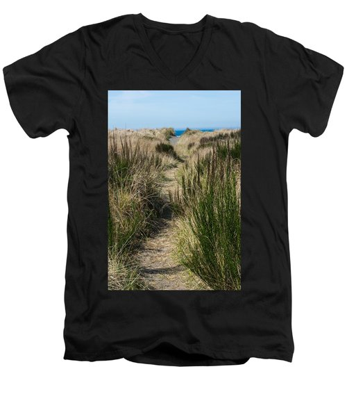 Beach Trail Men's V-Neck T-Shirt by Tikvah's Hope