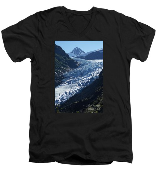 Men's V-Neck T-Shirt featuring the photograph Bear Glacier by Stanza Widen