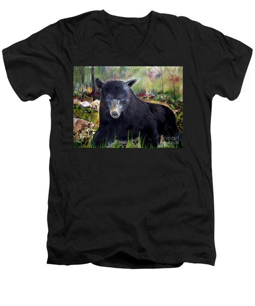 Men's V-Neck T-Shirt featuring the painting Bear Painting - Blackberry Patch - Wildlife by Jan Dappen