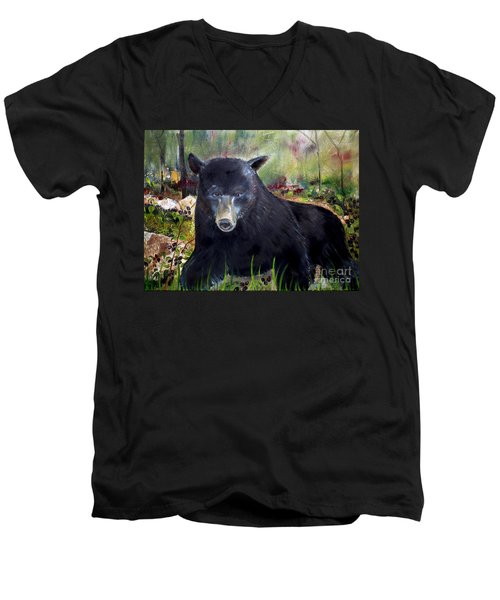 Bear Painting - Blackberry Patch - Wildlife Men's V-Neck T-Shirt