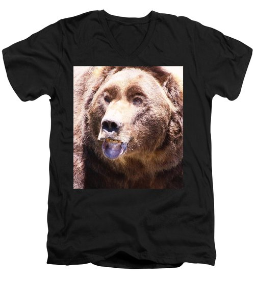 Men's V-Neck T-Shirt featuring the photograph Bearing My Teeth by Shane Bechler