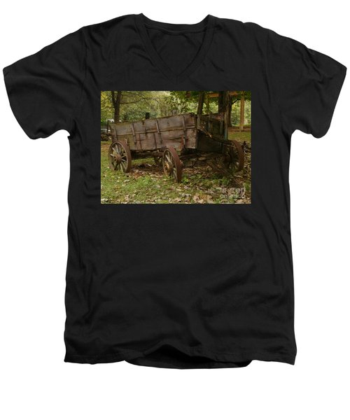 Men's V-Neck T-Shirt featuring the photograph Beaten By Time by Sara  Raber