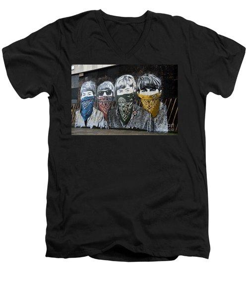 Beatles Street Mural Men's V-Neck T-Shirt