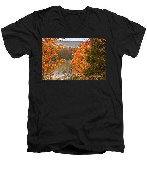 Men's V-Neck T-Shirt featuring the photograph Beautiful Autumn Gold Art Prints by Valerie Garner