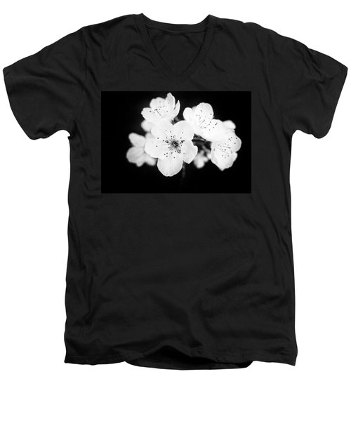 Beautiful Blossoms In Black And White Men's V-Neck T-Shirt