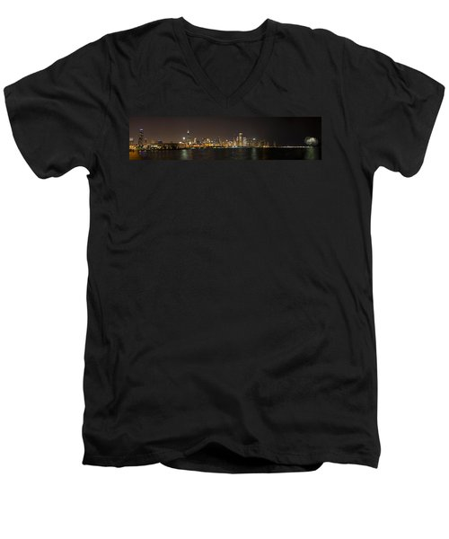 Beautiful Chicago Skyline With Fireworks Men's V-Neck T-Shirt by Adam Romanowicz