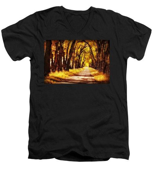 Beautiful Fall Day In Nebraska Men's V-Neck T-Shirt by Julie Hamilton
