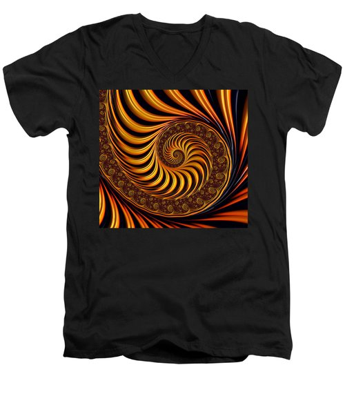 Beautiful Golden Fractal Spiral Artwork  Men's V-Neck T-Shirt by Matthias Hauser