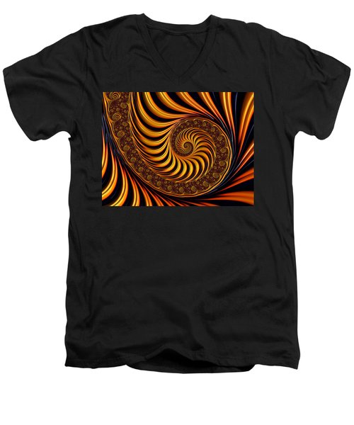 Beautiful Golden Fractal Spiral Artwork  Men's V-Neck T-Shirt