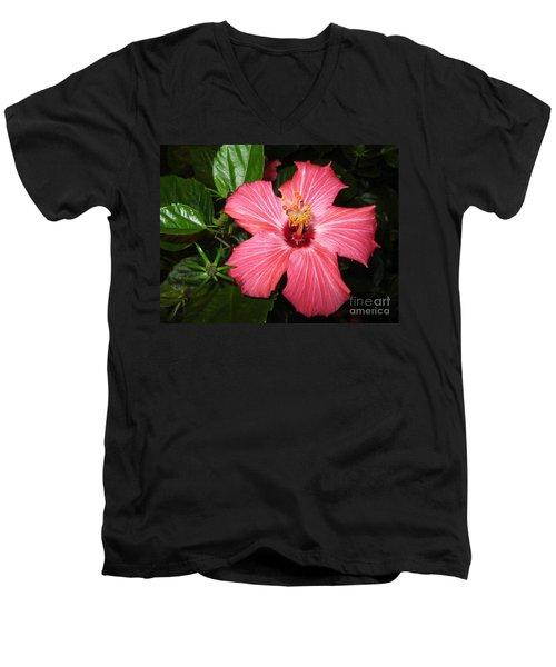 Men's V-Neck T-Shirt featuring the digital art Beautiful Hibiscus by Oksana Semenchenko