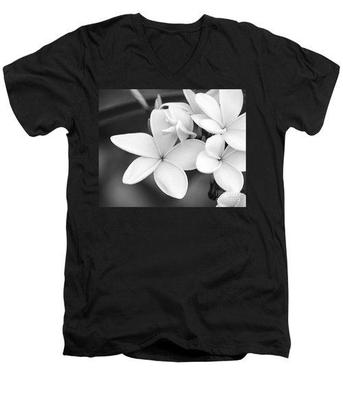 Beautiful Plumeria In Black And White Men's V-Neck T-Shirt