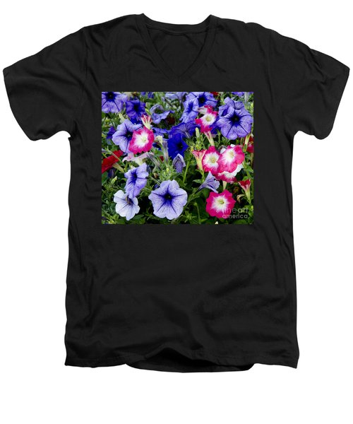 Men's V-Neck T-Shirt featuring the photograph Beautiful Summer Annuals by Wilma  Birdwell