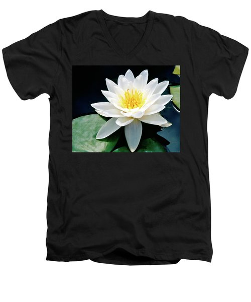 Beautiful Water Lily Capture Men's V-Neck T-Shirt by Ed  Riche