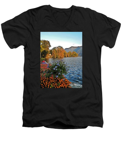 Beauty Of Lake Lugano Men's V-Neck T-Shirt