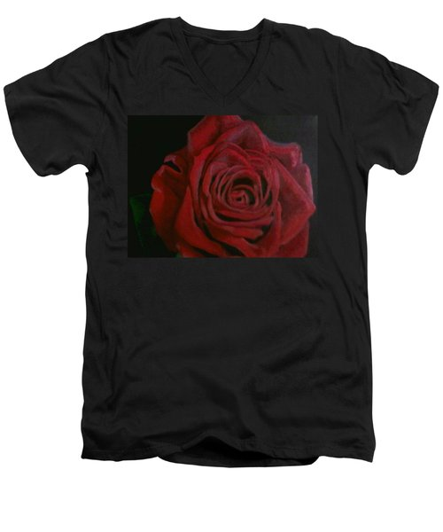 Men's V-Neck T-Shirt featuring the painting Beauty by Thomasina Durkay