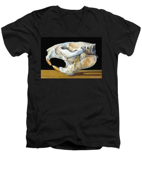 Beaver Skull 1 Men's V-Neck T-Shirt by Catherine Twomey