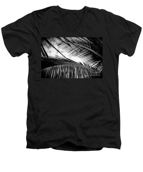 Men's V-Neck T-Shirt featuring the photograph Maui Paradise Palms Hawaii Monochrome by Sharon Mau