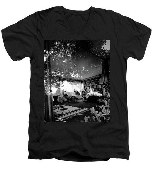 Bedroom Seen Through Glass From The Outside Men's V-Neck T-Shirt