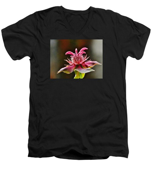 Men's V-Neck T-Shirt featuring the photograph Bee Balm's Beauty by VLee Watson
