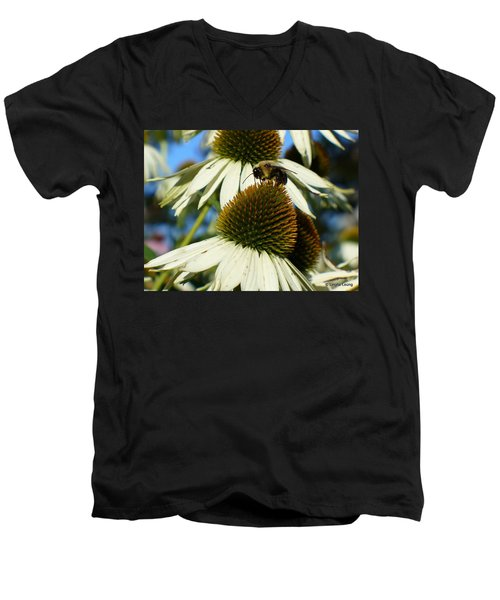 Men's V-Neck T-Shirt featuring the photograph Bee On A Cone Flower by Lingfai Leung