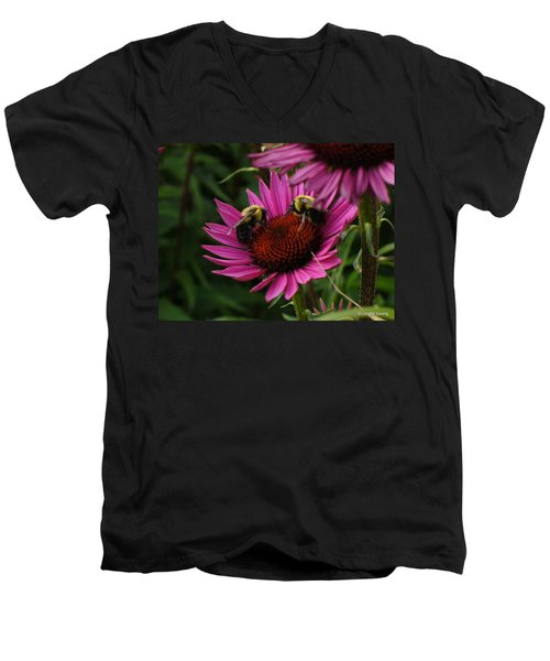 Men's V-Neck T-Shirt featuring the photograph Beelievers by Lingfai Leung