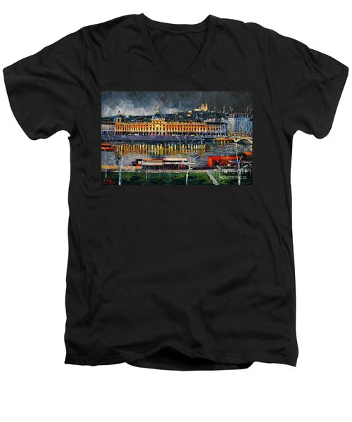 Before The Storm - View On Hotel Dieu Lyon And The Rhone France Men's V-Neck T-Shirt