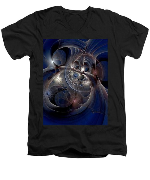 Men's V-Neck T-Shirt featuring the digital art Beguiled At Twilight by Casey Kotas