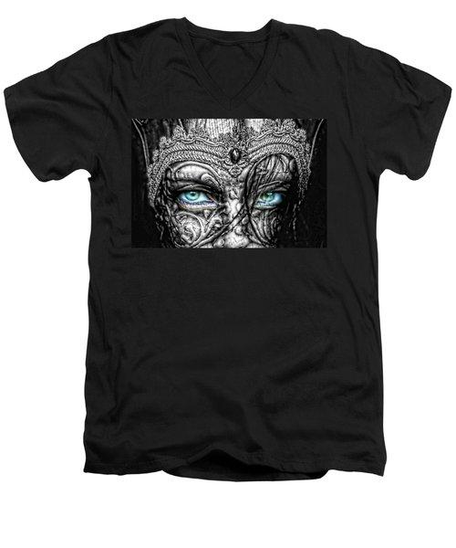 Behind Blue Eyes Men's V-Neck T-Shirt by Mo T