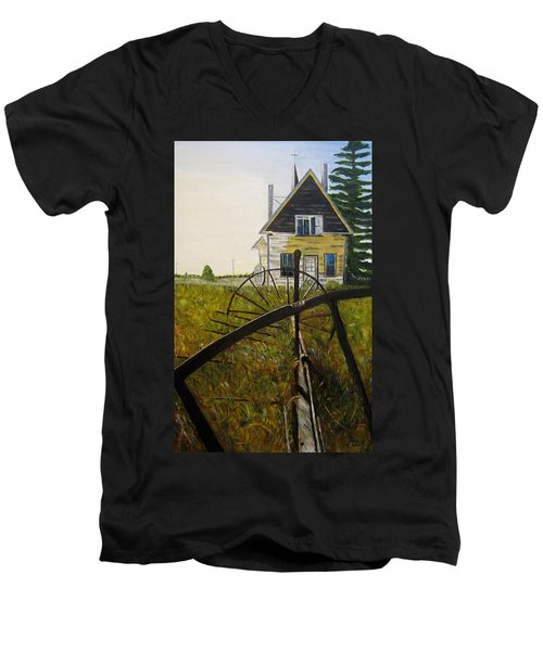 Men's V-Neck T-Shirt featuring the painting Behind The Old Church by Marilyn  McNish