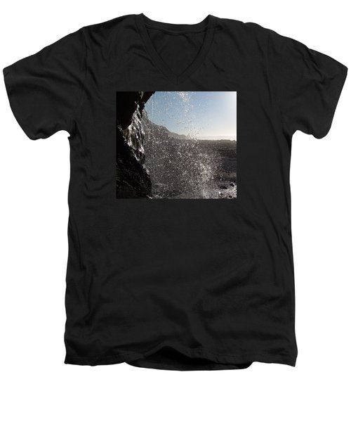 Behind The Waterfall Men's V-Neck T-Shirt by Richard Brookes