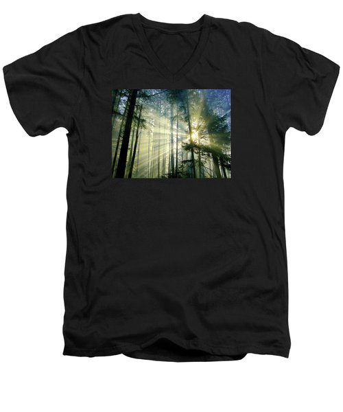 Behold The Light In The Fall Forest Men's V-Neck T-Shirt