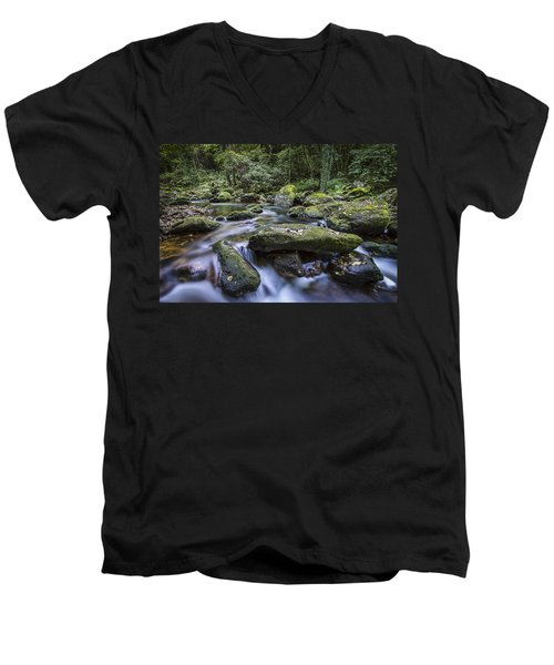 Men's V-Neck T-Shirt featuring the photograph Belelle River Neda Galicia Spain by Pablo Avanzini