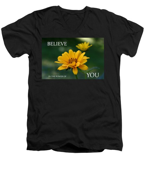 Believe Men's V-Neck T-Shirt by Denyse Duhaime