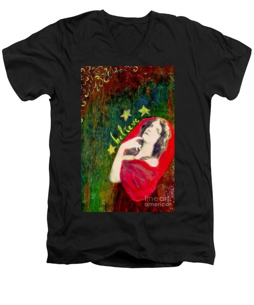Men's V-Neck T-Shirt featuring the mixed media Believe by Desiree Paquette