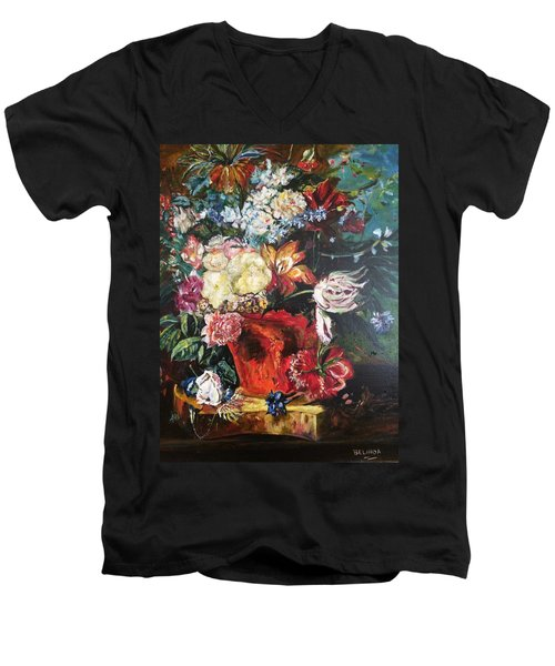 Men's V-Neck T-Shirt featuring the painting Life Is A Bouquet Of Flowers  by Belinda Low