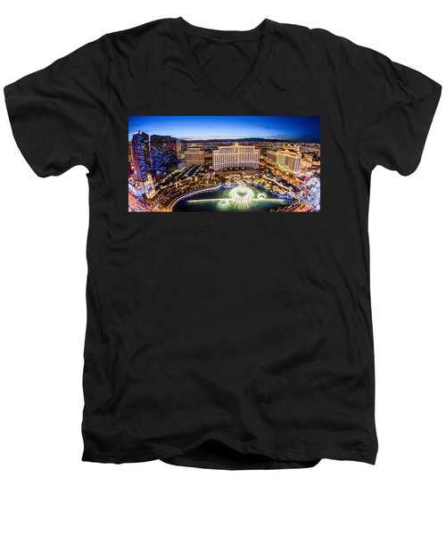 Men's V-Neck T-Shirt featuring the photograph Bellagio Rountains From Eiffel Tower At Dusk by Aloha Art