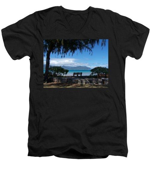 Bench Of Kaneohe Bay Hawaii Men's V-Neck T-Shirt by Jewels Blake Hamrick