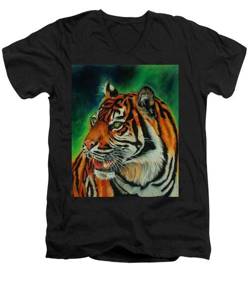 Bengal Men's V-Neck T-Shirt by Jean Cormier