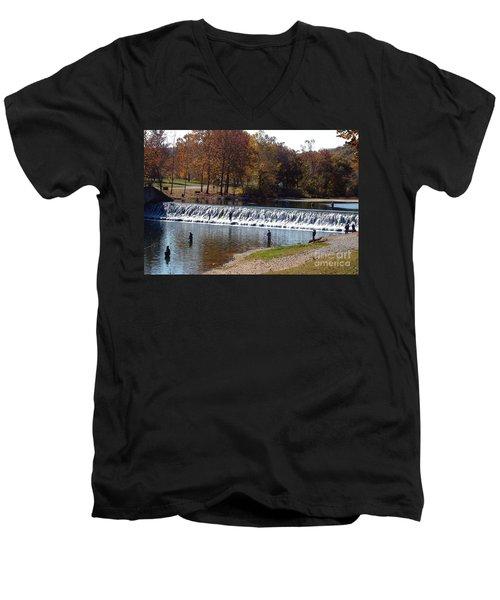 Men's V-Neck T-Shirt featuring the photograph Bennett Springs Spillway by Sara  Raber