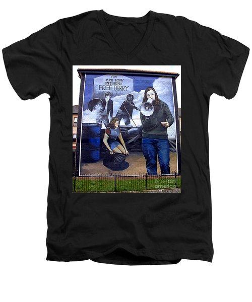 Bernadette Devlin Mural Men's V-Neck T-Shirt