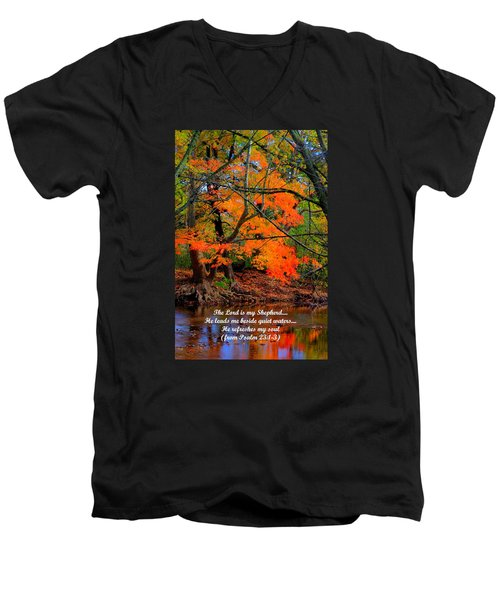 Beside Still Waters Psalm 23.1-3 - From Fire In The Creek B1 - Owens Creek Frederick County Md Men's V-Neck T-Shirt by Michael Mazaika