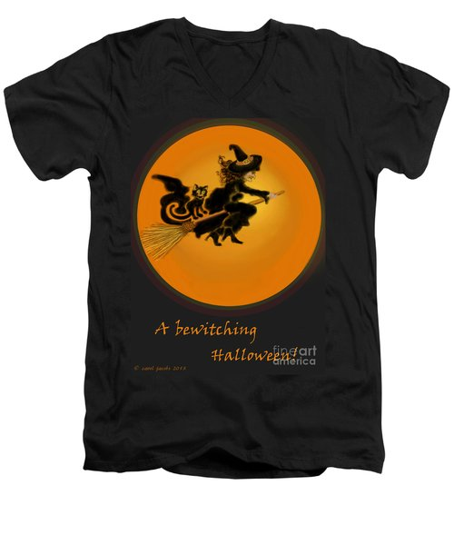 Men's V-Neck T-Shirt featuring the painting Betwitched by Carol Jacobs