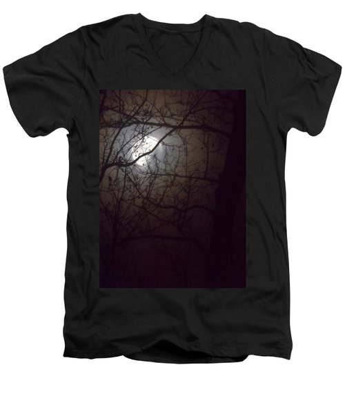 Men's V-Neck T-Shirt featuring the photograph Beware The Rougarou Moon by John Glass