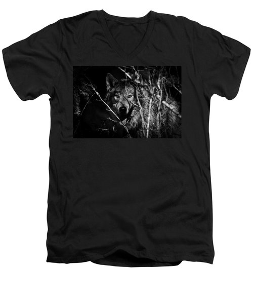 Beware The Woods Men's V-Neck T-Shirt by Wes and Dotty Weber