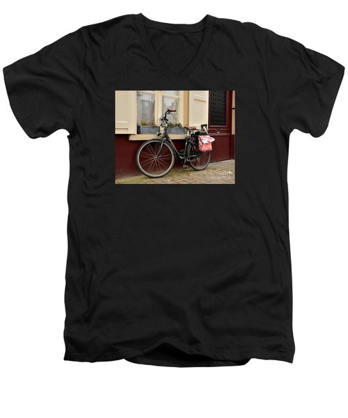 Bicycle With Baby Seat At Doorway Bruges Belgium Men's V-Neck T-Shirt by Imran Ahmed