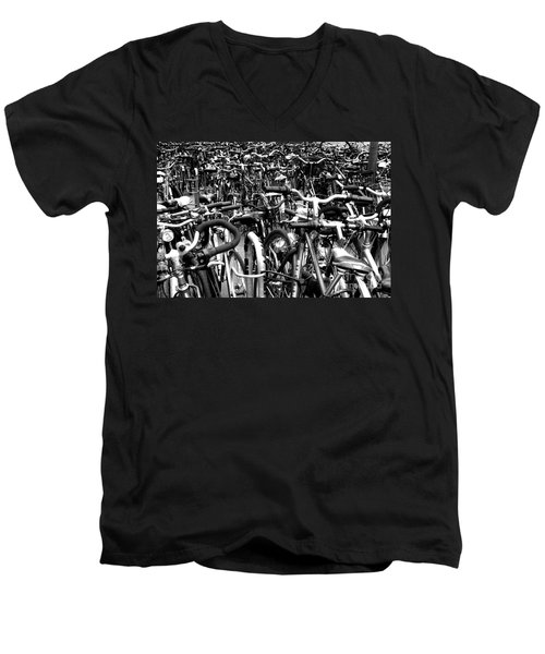 Men's V-Neck T-Shirt featuring the photograph Sea Of Bicycles- Karlsruhe Germany by Joey Agbayani