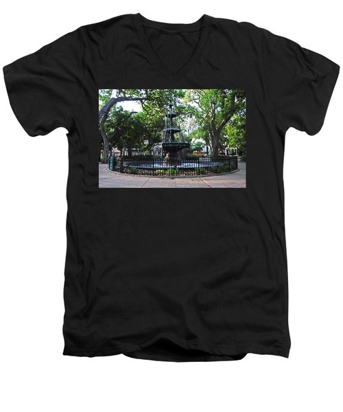 Bienville Fountain Mobile Alabama Men's V-Neck T-Shirt by Michael Thomas